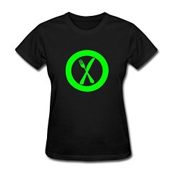 Pcy Women'S Custom Made Fork Knife Plate New Style T Shirt M Black