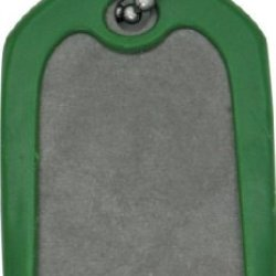 Dog Tags 001G Self Defense Dog Tag With Titanium Construction & Green Rubber Frame