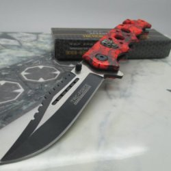 Tac Force Assisted Opening Rescue Glass Breaker Bright Red Skull Design Hunting Camping Tatical Pocket Knife