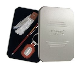 "Winchester 3-Piece Gift Set: Folding Knife, Key Chain Engraved ""Dad"" And Gift Tin ""Dad"""