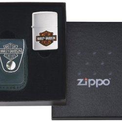 Zippo Lighter Harley Davidson Pouch Gift Set (Lighter Not Included), Black