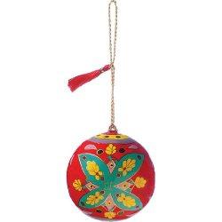 Luna Bazaar Floral Design Painted Paper Mache Ornament - 3 Inch .