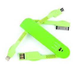 Oldshark Swiss Army Knife 3 In 1 Usb Data Sync Charger Cable 30Pin/8Pin/Micro For Iphone 4 /4S/ 5/ 5S/ 5C/ Samsung S3/ S4/ Ipad 2/ 3/ 4/ Air Green