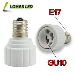 Lohas® 3-Pack E17 To Gu10 Adapter-Converts Mini Edison Screw(E17) Socket To Pin Base Fixture(Gu10) Socket-Adapter Converter-Suitable For Ikea Led Lights Bulbs,Halogen Cfl Lighting Lamp