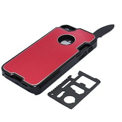 The Bop Wolf !!! Appbox Multifunction Knives Protective Hard Shell Case Mobile Phone Shell Protective Metal Shell For Iphone 4 / 4S -Red