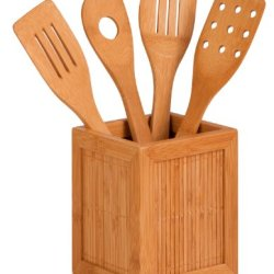 Honey-Can-Do Kch-01080 Bamboo Kitchen Utensil Caddy