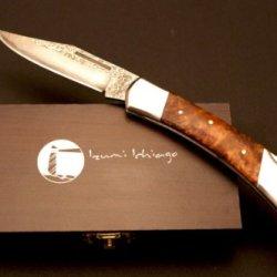 Izumi Ichiago - Big Fox Folder - Japanese Damascus Steel , With Precious Wooden Box
