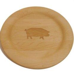 J.K. Adams 10-Inch Round Laser-Engraved Hardwood Dinner Plate, Pig Design