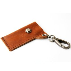 Leather Lighter Holder Key Chain W/Hexagon Piece (Brown)