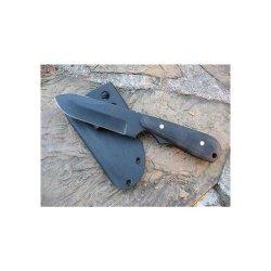9 In. Ranger Spear Point, Black Blade, Plain,Natural Micarta