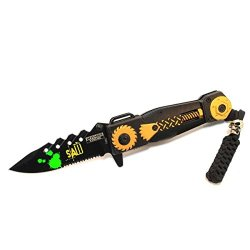 """New 8"""" Saw Spring Assisted Knife With Serrated Stainless Steel Blade - Yellow"""