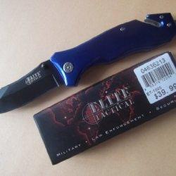 Elite Tactical Assist Open Rescue Knife, Blue Et-1005