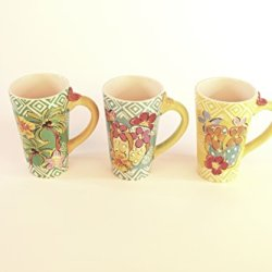 Coffee Mug Set Of Three Tropical Paradise Green Orange And Mixed 32023