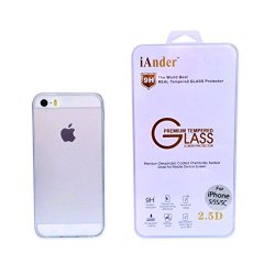 Iander Premium Tempered Glass Screen Protector For Iphone 5S Iphone 5C Iphone 5 - Screen Protector For Iphone 5S Iphone 5C Iphone 5 With Transparent Case Cover