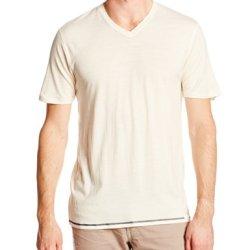 Woolly Clothing Co. Men'S Merino Wool Short Sleeve V-Neck T-Shirt Medium Linen With Slate Grey Threading