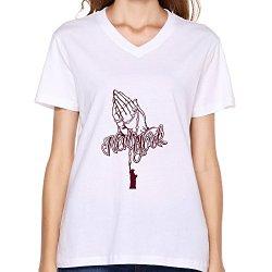 Goldfish Women'S Nerd V Neck Praying Hands T-Shirt White Us Size S