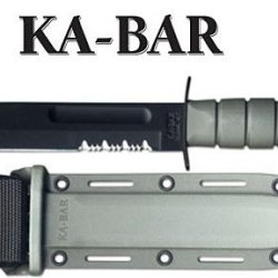 Ka-Bar Fighting Knife With Kraton Handle Edge, Green
