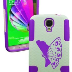Plastic & Silicone Case For Galaxy S4 Butterfly Cover (Purple)- Lifetime Warranty