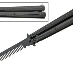All Black Handle & Blade Bali Comb Butterfly Practice Trainer Knife Model 3