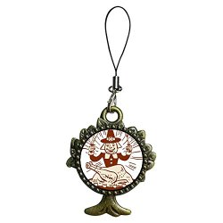 Giftjewelryshop Ancient Bronze Retro Style Thanksgiving Turkey Man With Fork Knife Flower Photo The Tree Of Life And Wishing Strap Hanging Chain For Phone Cell Phone Charm