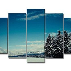Blue 5 Piece Wall Art Painting Winter Landscape Tree Thick Snow On Land Pictures Prints On Canvas Landscape The Picture Decor Oil For Home Modern Decoration Print For Bedroom
