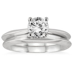 1 Carat Knife Edge Diamond Bridal Solitaire Set In 14K White Gold