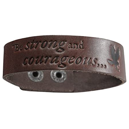 """""""Be Strong and Courageous"""" is the message from Joshua 1:9, handsomely debossed into this narrow Brown Leather Wriststrap Bracelet. Heavy-duty snaps allow for adjustment to two (2) sizes.Our Witness Gear Wristbands invite you to spread the Good News o..."""
