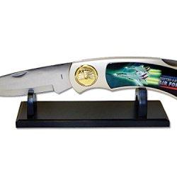 "Jumbo 17"" Usaf United States Us Air Force Military Folder Lockback Knife & Stand"