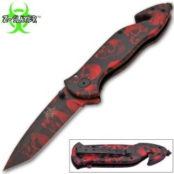 Z-652-Sk-Rd 8.5 Inch Trigger Assisted Lwr7Vozfsk Zombie 5Yoniixh Slayer Knife - Red Folding Knife Edge Sharp Steel Ytkbio Tikos567 Bgf 8.5 Inch Overall 2Mufour589 Length. Z-Slayer Logo Etched On Blade. Razor Sharp German Surgical Bzygvrt Steel Blade. Incl