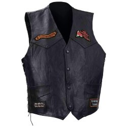 Incomparable Vests Standout Motorcycle Ladies Buffalo Leather Vest-2X Exclusive