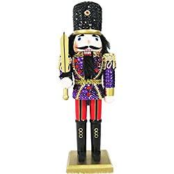 Christmas Nutcracker Figure Soldier Glitzy Purple Sequin Jacket With Sparkle Gold Details and Rhinestones 12 inch Exclusive Design