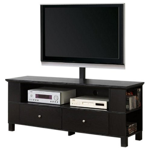 Image of TV Stand with Open Side Shelves in Black Finish (AZ00-75531x32322)