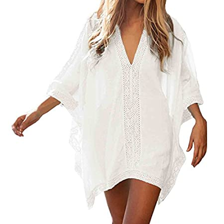 SUNNOW Womens Rayon Flutter Sleeve Dress Beach Swimwear Cover-up Specification : Material: Cotton Color: Blue,White Size Chart: Size: One Size Please check the size details before you buy it,Thanks! Package includes: 1 x Blouses Due...