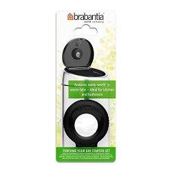 Brabantia Perfume Your Bin Starter Set (Black) - Waste Bin Deodorizer With Holder