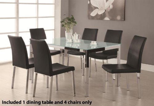 Image of 5pc Dining Table Set with Frosted Glass Top in Chrome Finish (VF_DINSET-120761-120762)
