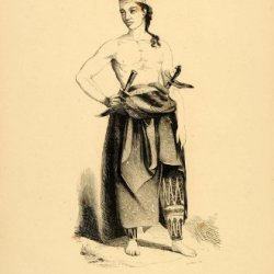 1843 Engraving Javanese Man Knives Costume Hat Java - Original Engraving