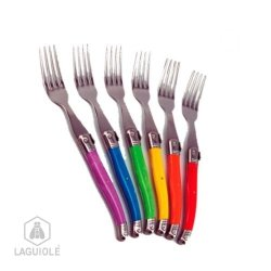 Laguiole Ambiance 6 Forks Vibrant Colors, For Everyday Use. Create Atmosphere At Your Table