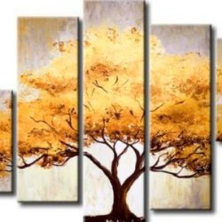 Sangu  Wood Framed 5-Piece Dissected Tree Oil Paintings Canvas Wall Art For Home Decoration