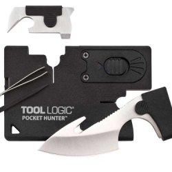 Tool Logic Cc2Hb Pocket Hunter Card Tool, 2-Inch Blade With Gut Hook And Led Light, Black