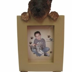 Black Cairn Terrier Picture Frame Holds Your Favorite 2.5 By 3.5 Inch Photo, Hand Painted Realistic Looking Cairn Terrier Stands 6 Inches Tall Holding Beautifully Crafted Frame, Unique And Special Cairn Terrier Gifts For Cairn Terrier Owners