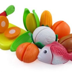 Cutting Vegetables, Fish & Chicken Play Food Playset For Kids With Cutting Board Set