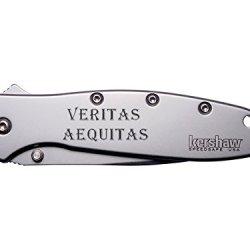 Veritas Aequitas Text Engraved Kershaw Leek 1660 Ken Onion Design Folding Speedsafe Pocket Knife By Ndz Performance