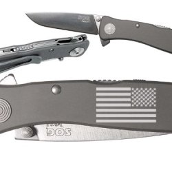 Us Military Battle Flag Custom Engraved Sog Twitch Ii Twi-8 Assisted Folding Pocket Knife By Ndz Performance