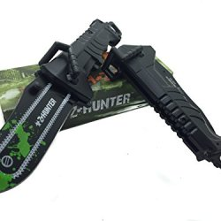 Z - Hunter With Green Splash Logo On Blade Black Stainless Steel Blade Knife - Chainsaw Handle Bar