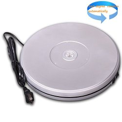 """10"""" Led Light Rotating Silver Color Turntable Display Stand For Portrait Model Photography Bracelet Shoe Exhibition (1Pc Super Brightness White Led In The Middle Light Up)"""