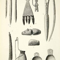 1882 Wood Engraving Art Chukchi Implement Ice Scraper Awl Bone Knife Amulet Pipe - Original In-Text Wood Engraving