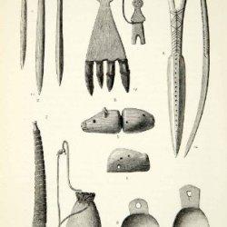 1882 Wood Engraving Art Chukchi Implement Ice Scraper Awl Bone Knife Amulet Pipe - Original In-Text Wood Engraving