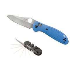 Benchmade 555Hg Mini-Griptillian Pardue Hollow Grind Blue Handle With Smith'S Sharpener