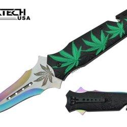 "Wartech 8"" Assisted Open Folding Tactical Pocket Knife Marijuana Leaf Design Handle"