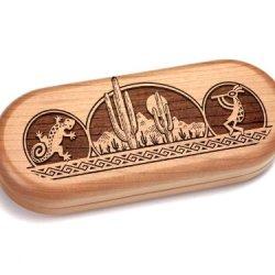 """2X5"""" Box With Staghorn Pocket Knife - Kokopelli/Gecko"""